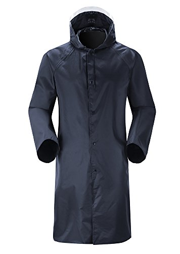 Insun Men's Long Raincoat with Hood Waterproof Lightweight Long Rain Jacket L Black