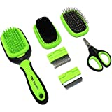 5 in 1 Dog Brush and Cat Brush Pet Grooming Kit Shedding De-Matting Slicker Comb for Undercoat Long Short Haired Small…