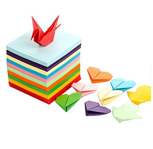 200 Pcs Papercranes Origami Paper DIY Folding Paper Handmade Paper for Teach and Entertainment(10 Colors)