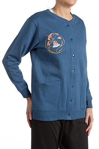 - Pembrook Womens Fleece Cardigan Jacket with Embroidery-XL-Navy