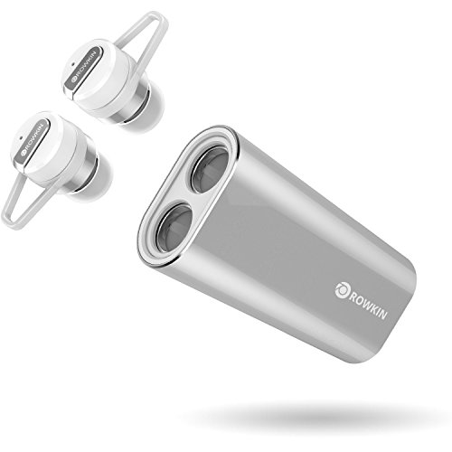 Rowkin Bit Charge Stereo with Earhooks: True Wireless Earbuds w/Charging Case. Bluetooth Headphones, Smallest Cordless Hands-Free in-Ear Mini Earphones Headsets w/Mic & Noise Reduction (Silver) ... (Rowkin Bit Stereo True Wireless In Ear Headphones)
