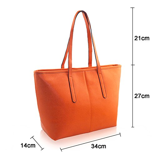 Bags Bags Fashion PU Leather Shoulder Capacity Large Jieway Orange Women's Tote Handbag AvCA8q
