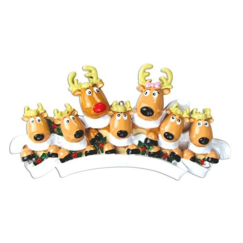 PERSONALIZED CHRISTMAS ORNAMENTS FAMILY KIT-REINDEER FAMILY 7 W/SCARVES (Reindeer Family Christmas Ornament)