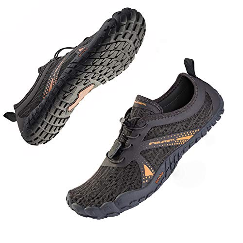 STEELEMENT. Dark Grey Minimalist Shoes for Men Zero Drop Trail Runners Gym Work Out Shoes Beach Pool Water Sports Shoes 10.5US-Dark Grey-44