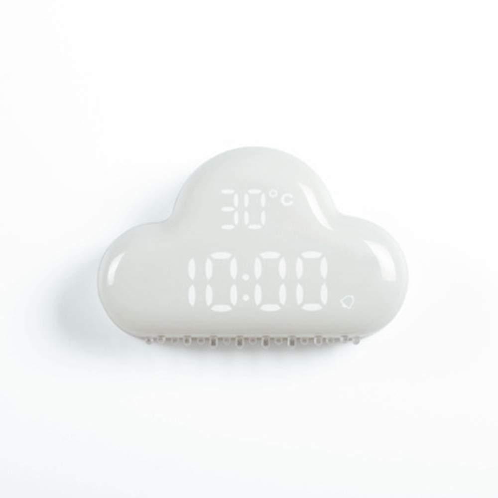 Cloud Digital Alarm Clock, Touch Control USB rechargeable Sound Control Electronic Temperature Calendar 3d intelligent digital clock, Snooze Energy Saving Night Light Clock, White