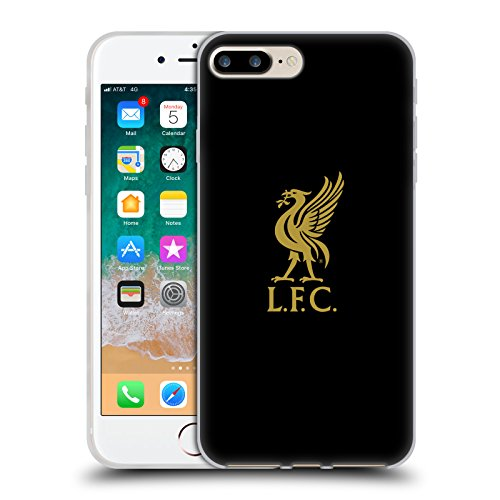 (Official Liverpool Football Club Gold Logo On Black Liver Bird Soft Gel Case for iPhone 7 Plus/iPhone 8 Plus)