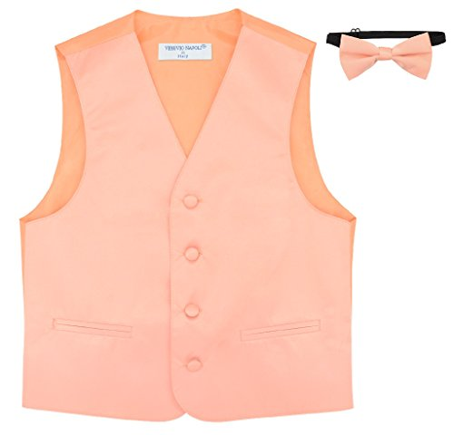 Boy's Dress Vest & Bow TIE Solid Peach Color Bow Tie Set Size 6