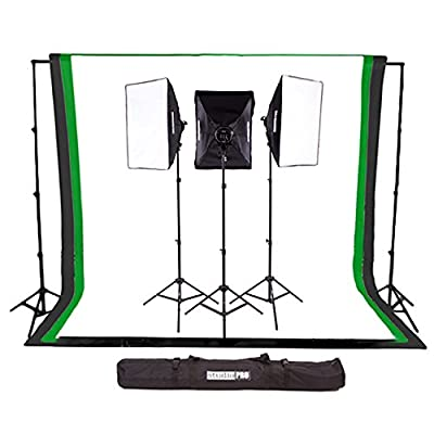 StudioPRO 3000W Complete Photography Photo Video Studio Triple Light Softbox Continuous Lighting Kit with 6ft x 9ft Black, White, and Green Muslin Backdrops with Background Support by StudioPRO