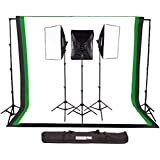 Fovitec StudioPRO 3000W Complete Photography Photo Video Studio Triple Light Softbox Continuous Lighting Kit with 6ft x 9ft Black, White, and Green Muslin Backdrops with Background Support