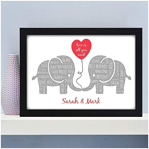 Kissing Elephants Personalised Christmas, Birthday, Valentines Gifts for Couples, Her, Him, Husband, Wife, Girlfriend, Boyfriend, Partner – Keepsake Elephant Couple Gifts – PERSONALISED with 2 NAMES
