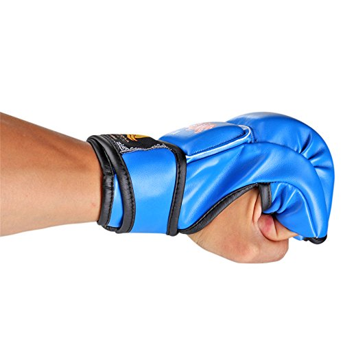 Flexzion Half Finger Boxing Gloves - Grappling MMA Muay Thai UFC Sparring Punch Ultimate Mitts Sanda Fighting Training Sandbag Equipment Pair for Adult Men from Flexzion