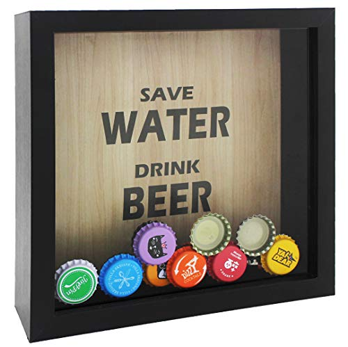 Space Art Deco 8x8 Black Beer Cap Shadow Box, Top Loading,