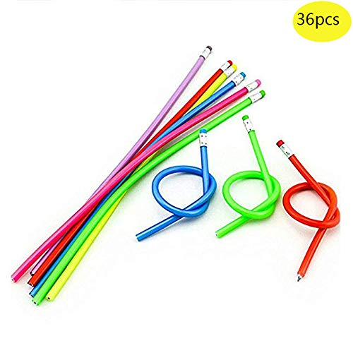 Magic Colorful - Haawooky 36 Pcs Colorful Magic Bendy Flexible Soft Pencil with Eraser Kids Children School Fun Equipment