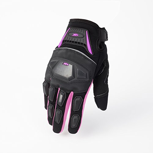 012 Street Bike Full Finger Motorcycle Gloves ATV Motocross Dirt Bike Mountain Bike Gloves (Pink/Black, M) -