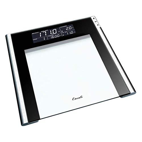 Escali USTT200 Track and Target Bathroom Body Scale, 4 User Profiles, LCD Digital Display, 440lb Capacity, Clear/Black