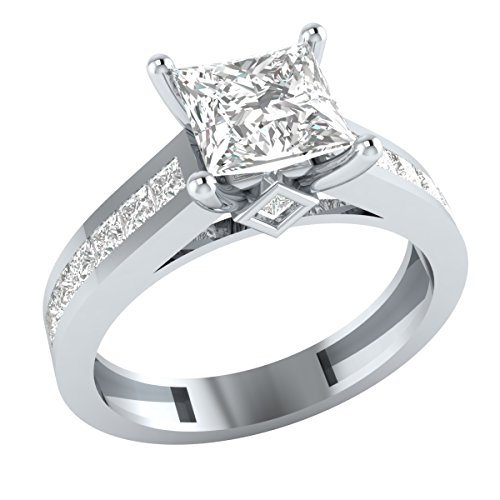 Solid 10k White Gold Princess Cut Cubic Zirconia Solitaire Wedding Engagement Ring by Demira Jewels