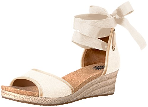 UGG Women's Amell Wedge Sandal, Canvas, 8 US/8 B US