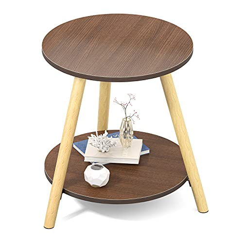 2-Tier Round End Table Coffee Side Wood Table for Living Room,Bedroom,Corridor,Balcony,15.7 inches Diameter,Brown