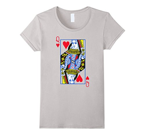 Women's Queen of Hearts Playing Card Costume T-Shirt Large Silver (Queen Of Hearts Card Adult Costume)