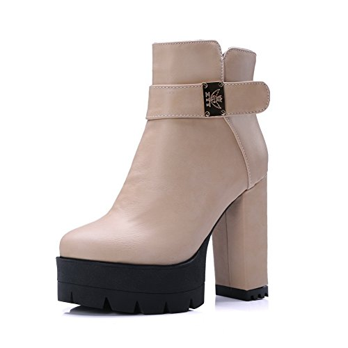 Buckle Boots Chunky Womens Platform Heels Soft Beige 1TO9 Material 0Z5tqwnB