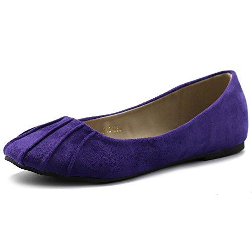 Ollio Womens Ballet Shoe Comfort Faux Suede Flat Purple