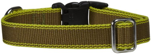 Waggo Stripe Hype Collar - Olive - Medium - 15-22 x 3/4 inches