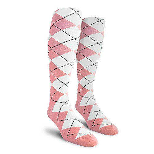 Argyle Golf Socks: Over-the-Calf - Pink/White - Ladies
