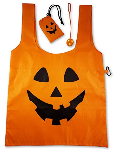 Trick Or Treat Bag Lighted Halloween Nylon Tote Candy Bag with Extra Bright Flashing LED Safety Light (1) (Halloween Treat Or Trick Bags)