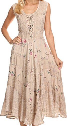 Sakkas 22311 Garden Goddess Corset Style Dress - Taupe - 1X/2X