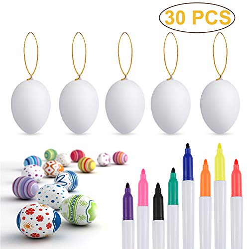 Philonext 30pcs Easter White Plastic Eggs, Easter Eggs,
