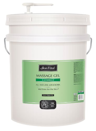 (Bon Vital Naturale Massage Gel Made with Natural Ingredients for Earth-Friendly & Relaxing Massage, Great for Clients with Sensitive Skin, Moisturizer Absorbs into Skin Like Lotion, 5 Gallon Pail)