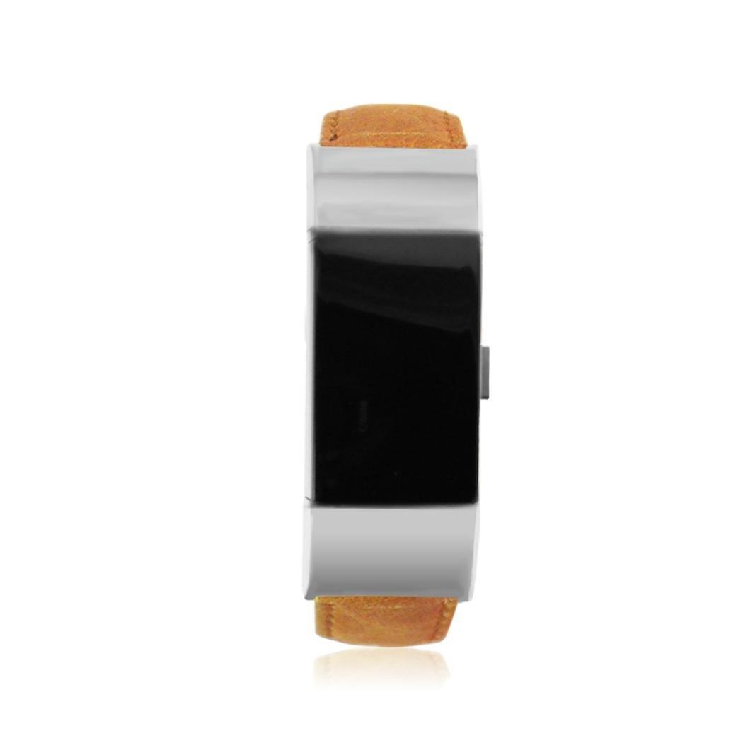 新しいファッションRTYOu (TM) レザーバックル腕時計バンドストラップベルトfor Fitbit charge2 Watch One size ライトブラウン ライトブラウン B0776T53FW