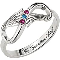 Personalized Rings for Women Angel Wings Ring Engagement Rings for Couples Birthstone Rings Customized Ring for Mom Silver Mothers Family Ring Infinite Ring Love Mothers Ring with 3 Birthstones