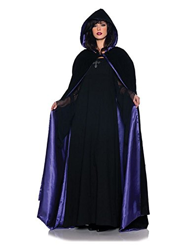 Underwraps Gothic Deluxe Velvet & Satin Cape Vampire Costume, Black/Purple, 63