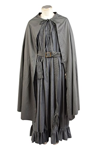 Gandalf The White Costume With Staff (NoveltyBoy The Lord of the Rings Cosplay Gandalf Costume Grey Cloak Cape Coat Skirt Belt Bag Set)