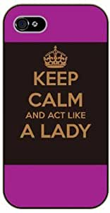 For Ipod Touch 4 Case Cover Keep calm and act like a lady, black plastic case / Inspirational and motivational life quotes / AUTHENTIC