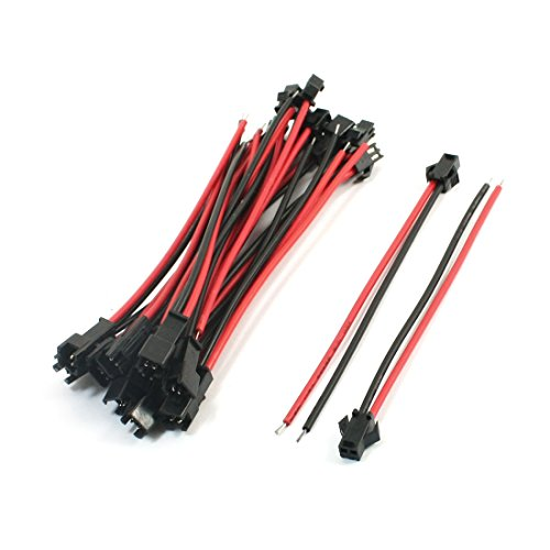 10Pairs Black Red 13cm JST SM 2Pins Jack Male to Female Wire Connector