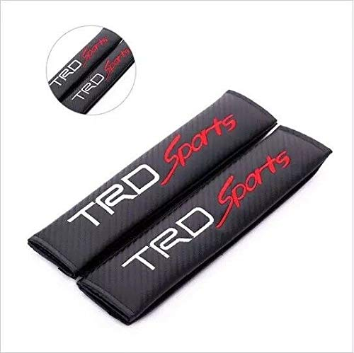 Tuning_Store 2PCS TRD Sports Carbon Fiber Look Embroidery Seat Belt Cover Shoulder Pads Quality Accessories for Car Tuning