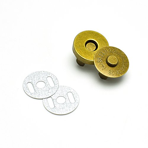 5pcs Magnetic Snap Fasteners Clasps Buttons Handbag Purse Wallet Craft Bags Parts Accessories (18mm, Antique Brass) ()