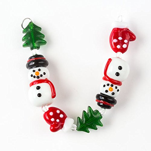 - Cherry Blossom Beads Handmade Lampwork Glass Christmas Strand with Snowman, Red Mittens, and Green Trees - 6 Inch Strand