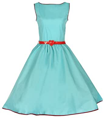 Lindy Bop Classy Vintage Audrey Hepburn Style 1950's Rockabilly Swing Evening Dress (XL, Turquoise)