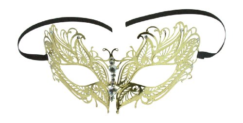 A.O.E. Silver Masquerade Ball Mask Luxury Venetian Laser Cut Masquerade Mask (Gold) -