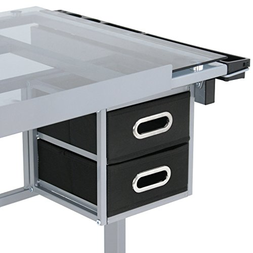 Super Deal Glass Top Adjustable Drawing Desk Craft Station Drafting Table Tempered Glass Top Art Craft w/Drawers and Wheels by SUPER DEAL (Image #6)