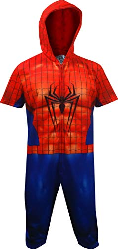 Spiderman Cropped Hooded Union Suit Onesie Pajama for men -