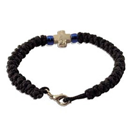 Classic Black Komboskine with Cross and Clasp, Imported From Greece