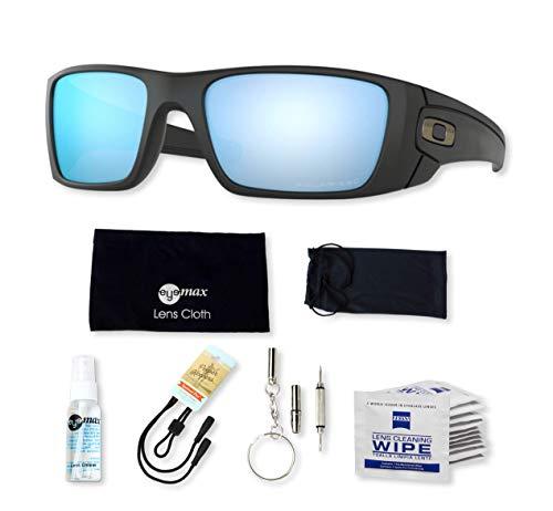 Oakley Fuel Cell, OO9096 (D8) Matte Black/Prizm Salt Water Polarized 60mm, Sunglasses Bundle with original case, and accessories (6 items) (Schwarz Oakley Fuel Cell Sonnenbrille)