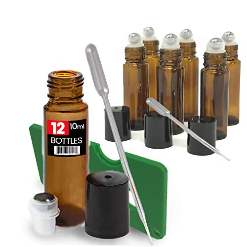 12 Pack Kit, Amber Brown Roller Bottles Set, 10 ml, Roll On Stainless Steel Ball, Includes qty 6-1ml Droppers, Opener, and Labels. Set for Essential Oils, Perfume, Refillable (12 Pack UV Amber) ()