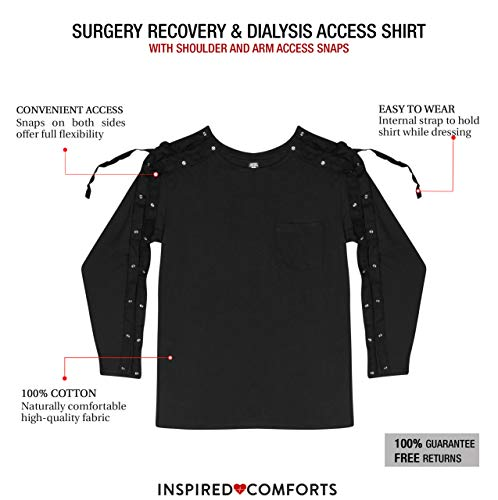 Dialysis & Shoulder Surgery Recovery Full Sleeve Shirt with Shoulder & Arm Snaps