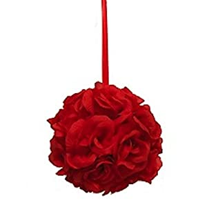 Ben Collection 9 Inch Rose Kissing Ball Wedding Centerpiece Silk Flower Pew Bows Decor Pomander 51