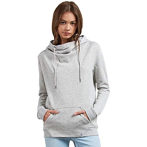 Volcom Junior's Walk on by High Neck Hooded Fleece Sweatshirt, Heather Grey, Medium